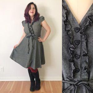 Modcloth Gray Button Up Shirt Dress Cap Sleeve XL